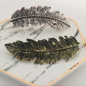 Feather Hair Barrette Bronze or Antique Silver